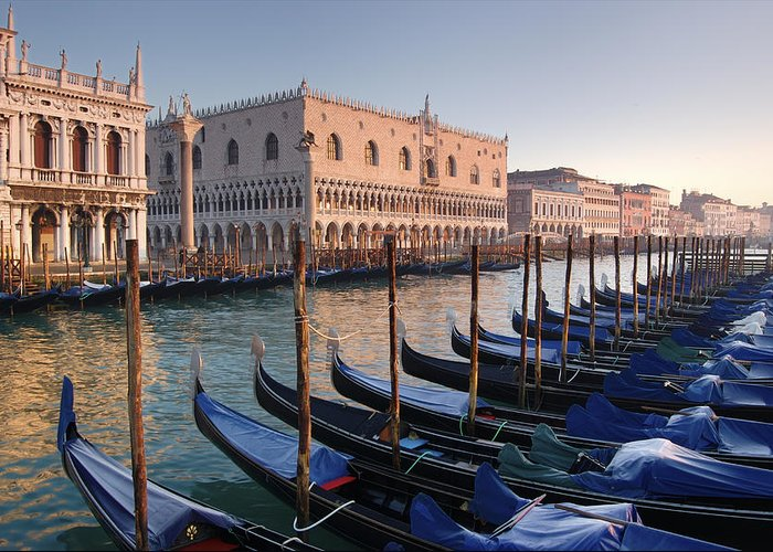 Color Image Greeting Card featuring the photograph Gondolas Docked Outside Of Piazza San by Jim Richardson