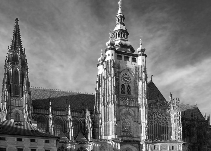 Vitus Greeting Card featuring the photograph Gothic Saint Vitus Cathedral In Prague by Christine Till