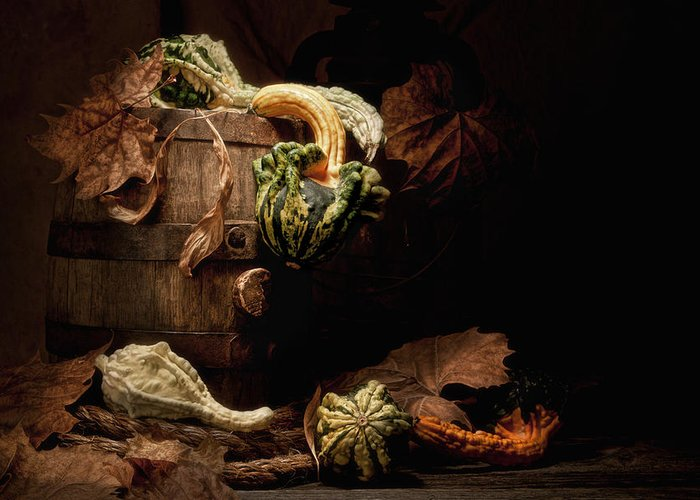 Gourd Greeting Card featuring the photograph Gourds And Leaves Still Life by Tom Mc Nemar