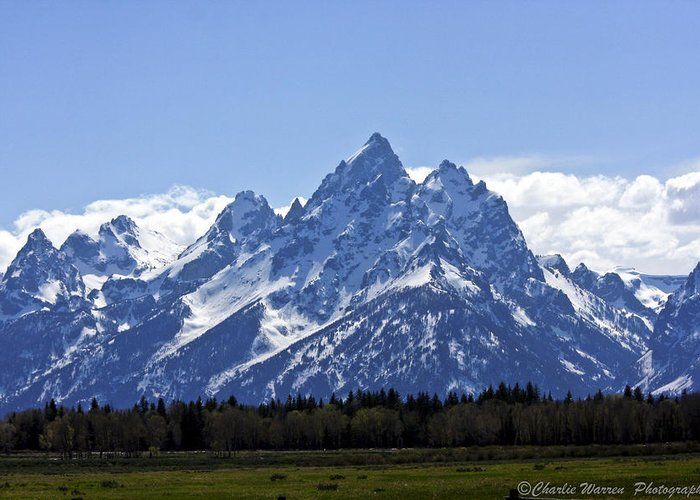 Grand Tetons Greeting Card featuring the photograph Grand Tetons 2 by Charles Warren