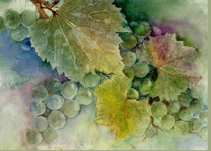 No Text Greeting Card featuring the painting Grapes II by Judy Dodds