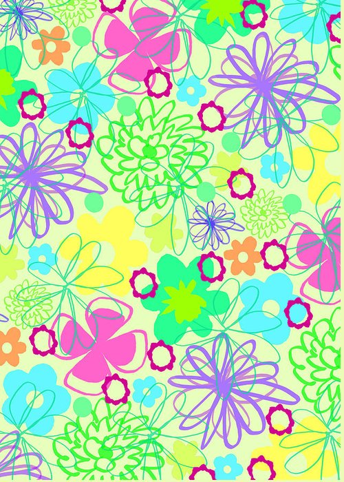Flower Greeting Card featuring the digital art Graphic Flowers by Louisa Knight