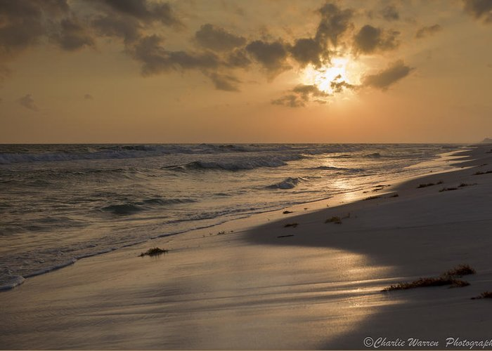 Sunset Greeting Card featuring the photograph Grayton Beach Sunset by Charles Warren