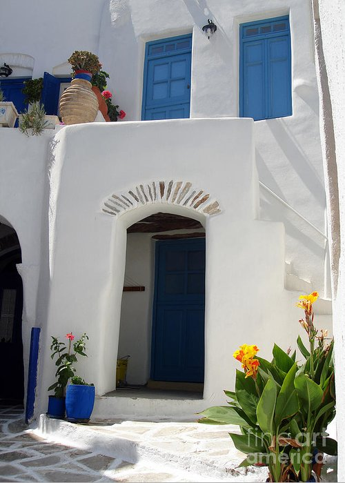 Flower Greeting Card featuring the photograph Greek Doorway by Jane Rix