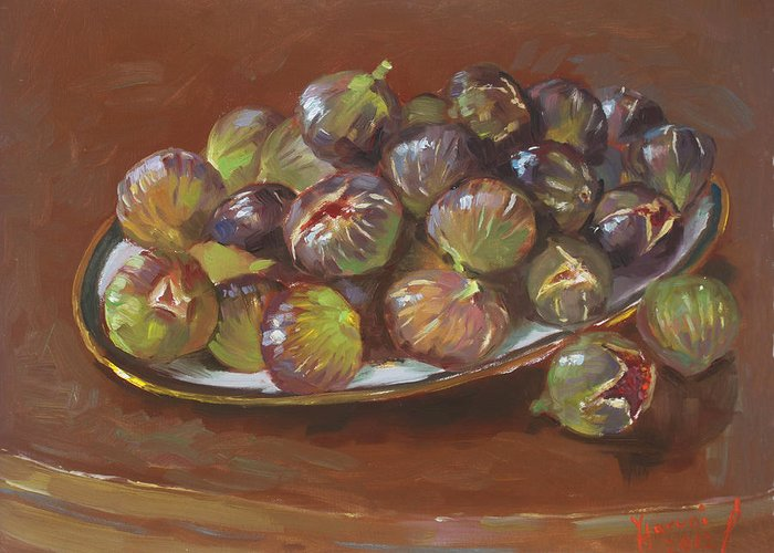 Figs Greeting Card featuring the painting Greek Figs by Ylli Haruni