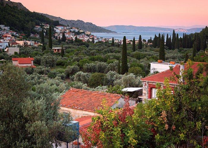 Agios Isidoros Greeting Card featuring the photograph Greek Village by Emmanuel Panagiotakis