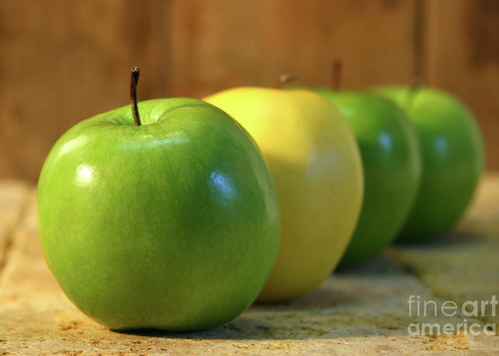Apple Greeting Card featuring the photograph Green And Yellow Apples by Sandra Cunningham