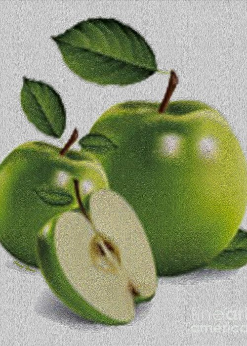 Green Apples Greeting Card featuring the photograph Green Apples by Cheryl Young