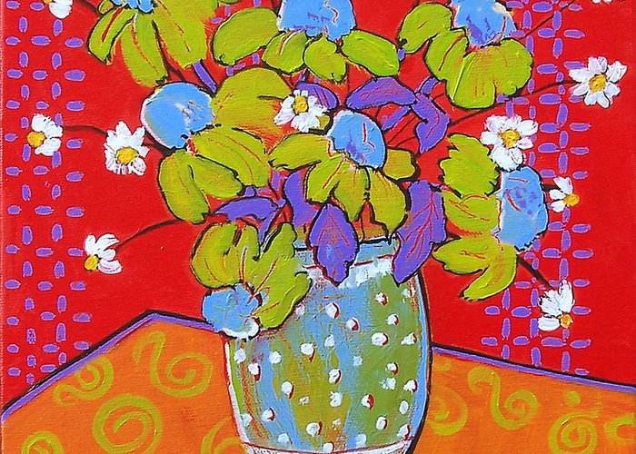 Colorful Greeting Card featuring the painting Green Daisy Bouquet by Blenda Studio