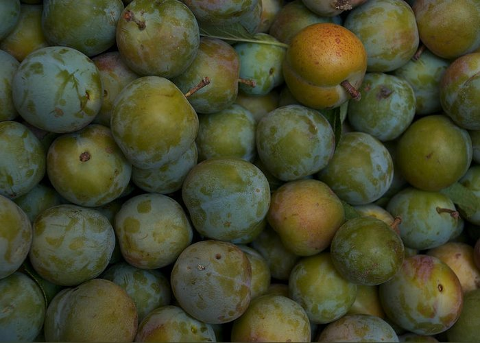 Nobody Greeting Card featuring the photograph Green Plums Fill A Bin Outside A Local by Heather Perry