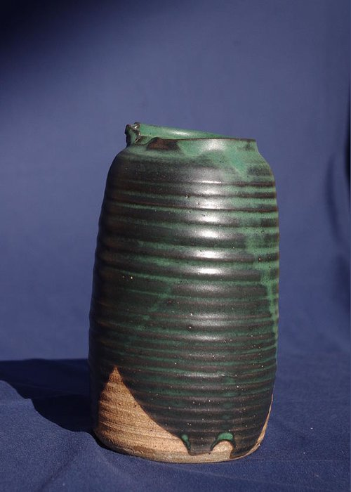 Ceramic Greeting Card featuring the ceramic art Green Vase by Rick Ahlvers