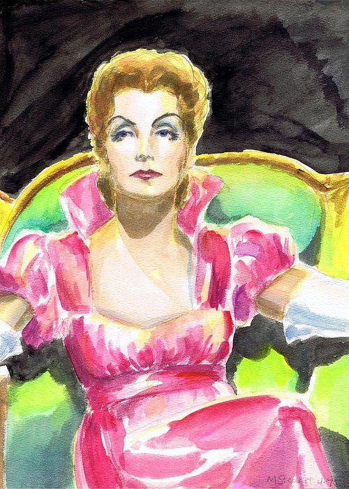 Nostalgia Greeting Card featuring the drawing Greta Garbo by Mel Thompson