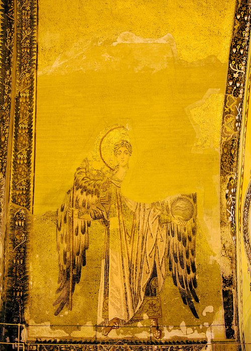 Art Greeting Card featuring the photograph Guardian Angel Byzantine Art by Artur Bogacki