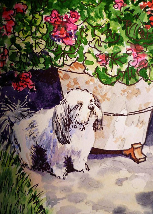 Dog Greeting Card featuring the painting Guarding Geranium Sketchbook Project Down My Street by Irina Sztukowski