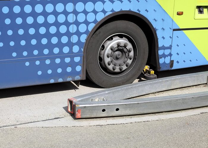 Vehicle Greeting Card featuring the photograph Guided Busway Wheel Mechanism by Martin Bond