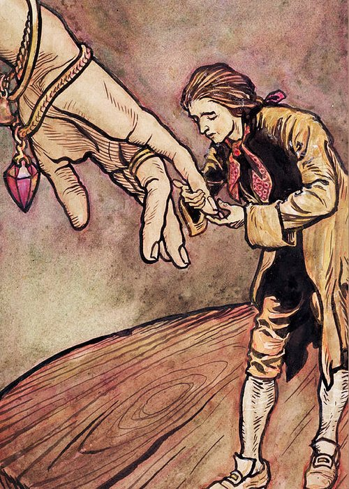 Gulliver Greeting Card featuring the painting Gulliver In Brobdingnag Kissing The Hand Of The Queen by Arthur Rackham