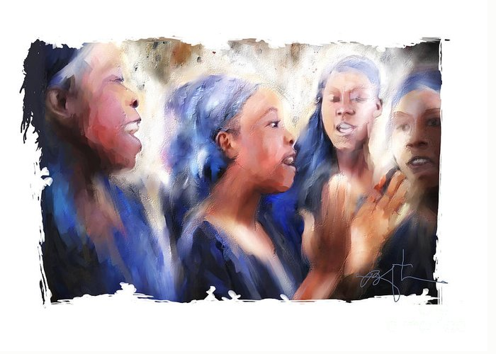 Girls Greeting Card featuring the painting Haitian Chorus Singers by Bob Salo
