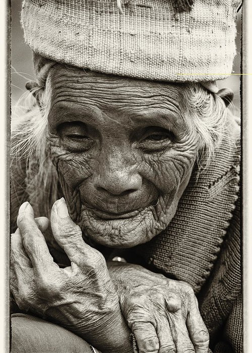 80-90 Yrs; Aborigine; Age; Aging; Art; Asia; Asian; Awe; Banaue; Close-up; Contemplation; Decor; Decoration; Detail; Fine Art; Glisten; Ifugao; Ifugao Province; Indian; Inspirational; Journey; Life; Loneliness; Female; Woman; Memory; Milestone; Native; Old; One; Philippines; Photographic; Photography; Portrait; Reflection; Reverence; Spirituality; Toned; Toned Black And White; Tranquility; Travel Destinations; Tribal; Vertical; Weathered; World Heritage Sight; Worn; Wrinkled; Zen Greeting Card featuring the photograph Hands Of Time by Skip Nall