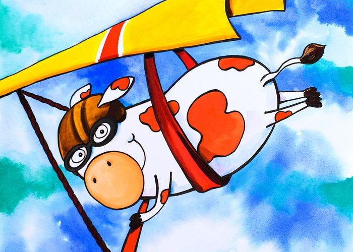 Scott Nelson Greeting Card featuring the painting Hang Glider Cow by Scott Nelson