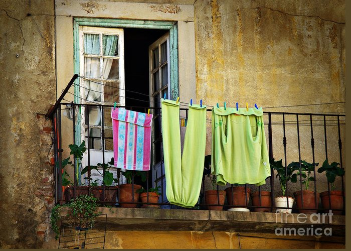 Aged Greeting Card featuring the photograph Hanged Clothes by Carlos Caetano