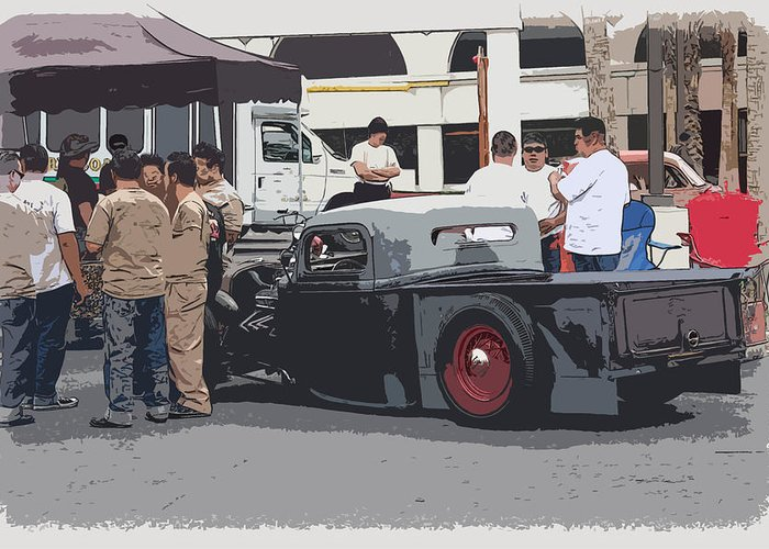 Chopped Greeting Card featuring the photograph Hanging At The Car Show by Steve McKinzie