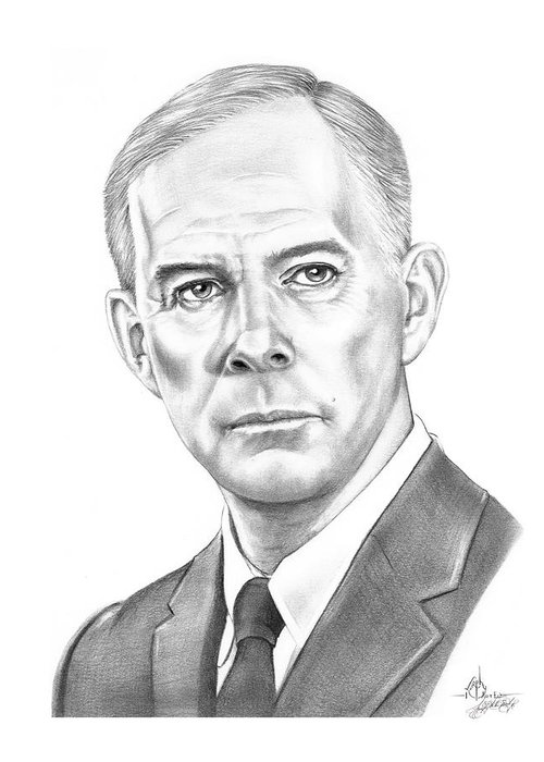 Pencil Greeting Card featuring the drawing Harry Morgan by Murphy Elliott