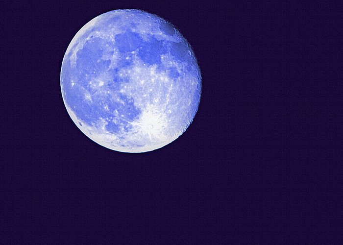 Moon Greeting Card featuring the photograph Harvest Moon - Blue Moon by Steve Ohlsen