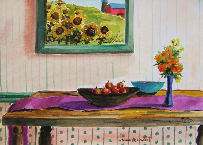 Interior Greeting Card featuring the painting Harvest Table by John Williams