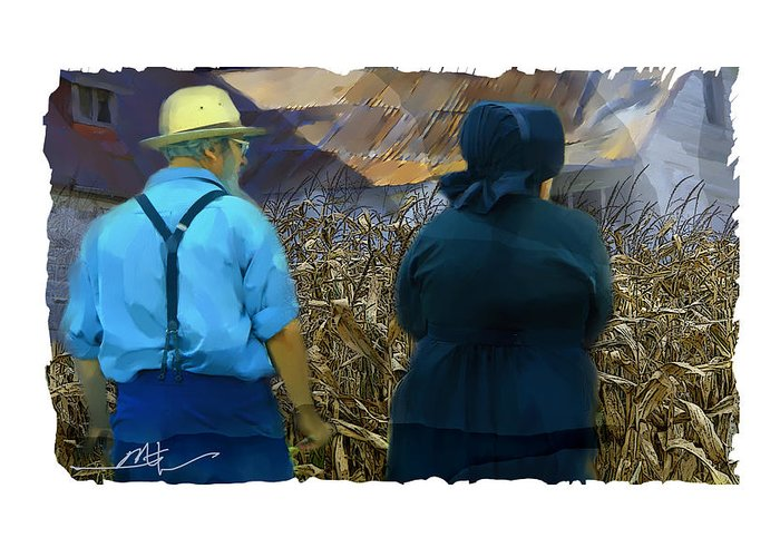 Farm Greeting Card featuring the painting Harvesting The Corn by Bob Salo