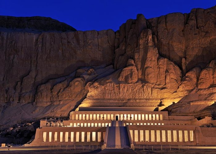 Outdoors Greeting Card featuring the photograph Hatshepsuts Mortuary Temple Rises by Kenneth Garrett