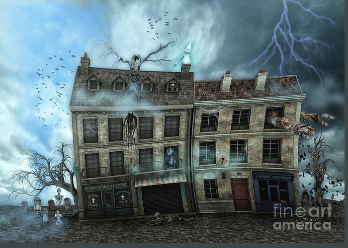 3d Greeting Card featuring the digital art Haunted House by Jutta Maria Pusl