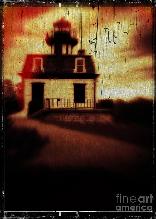 Halloween Greeting Card featuring the photograph Haunted Lighthouse by Edward Fielding