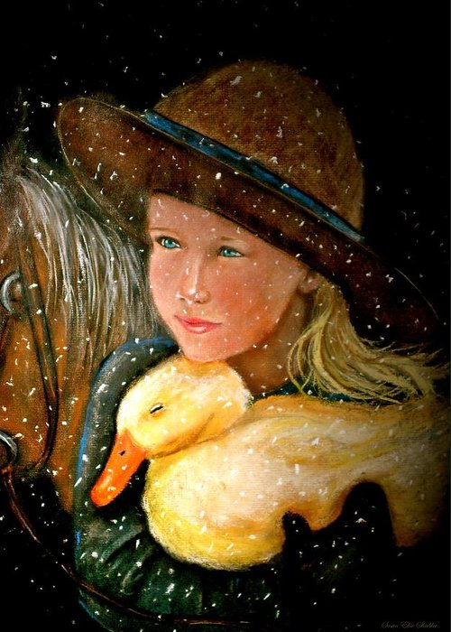 Snow Greeting Card featuring the painting Hayden by Susan Elise Shiebler
