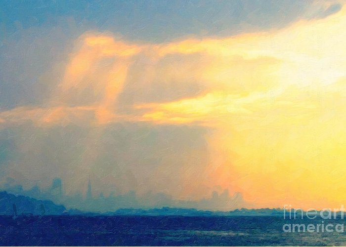 San Francisco Greeting Card featuring the photograph Hazy Light Over San Francisco by Wingsdomain Art and Photography