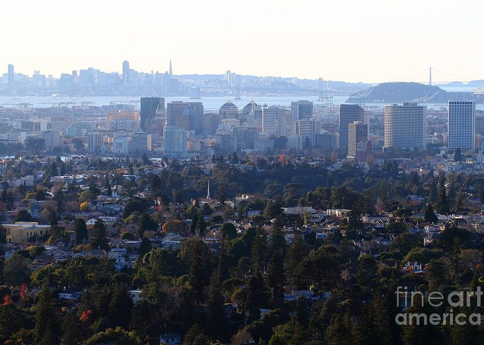 Bayarea Greeting Card featuring the photograph Hazy San Francisco Skyline Viewed Through The Oakland Skyline . 7d11341 by Wingsdomain Art and Photography