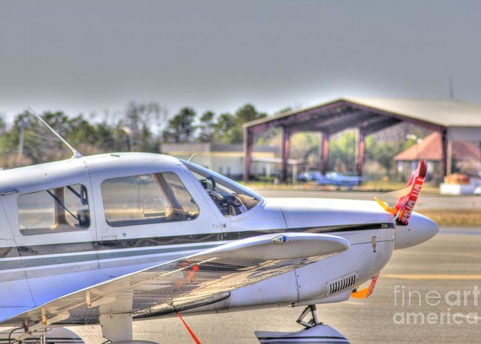Plane Greeting Card featuring the photograph Hdr Airplane Looks Plane From Afar Under Canopy by Pictures HDR