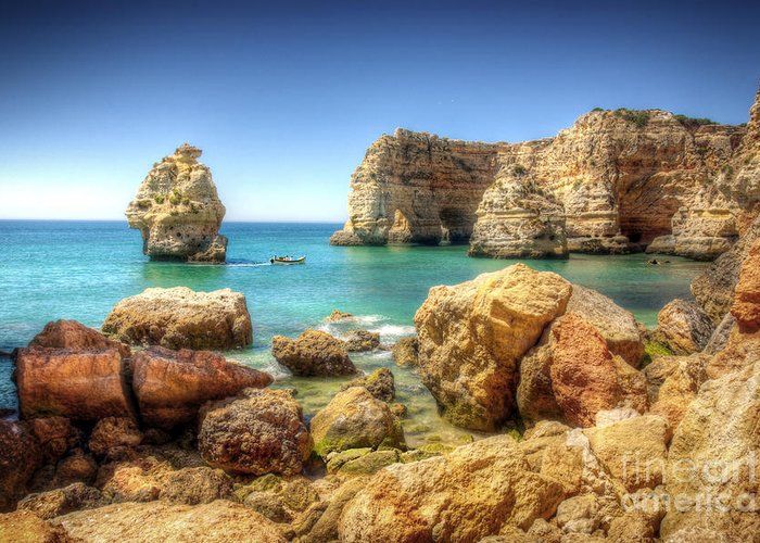 Algarve Greeting Card featuring the photograph Hdr Rocky Coast by Carlos Caetano