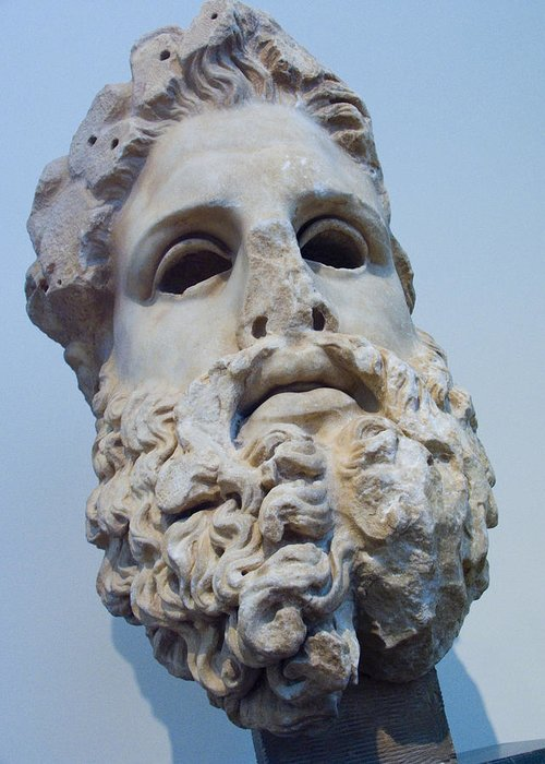 Europe Greeting Card featuring the photograph Head Of Zeus At The Acropolis Museum by Richard Nowitz