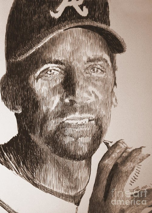 John Smoltz Greeting Card featuring the drawing Headed For The Hall by Robbi Musser