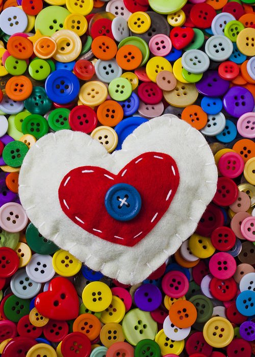 Heart Greeting Card featuring the photograph Heart Buttons by Garry Gay