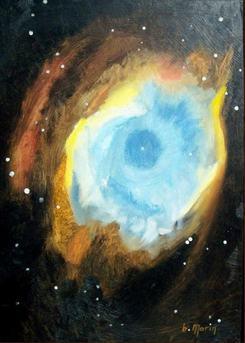 Stars Greeting Card featuring the drawing Helix Nebula by Bernard MORIN