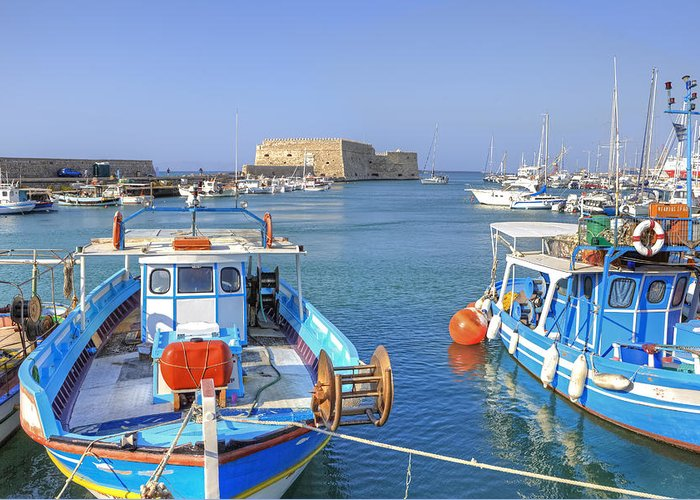 Heraklion Greeting Card featuring the photograph Heraklion - Venetian Fortress - Crete by Joana Kruse