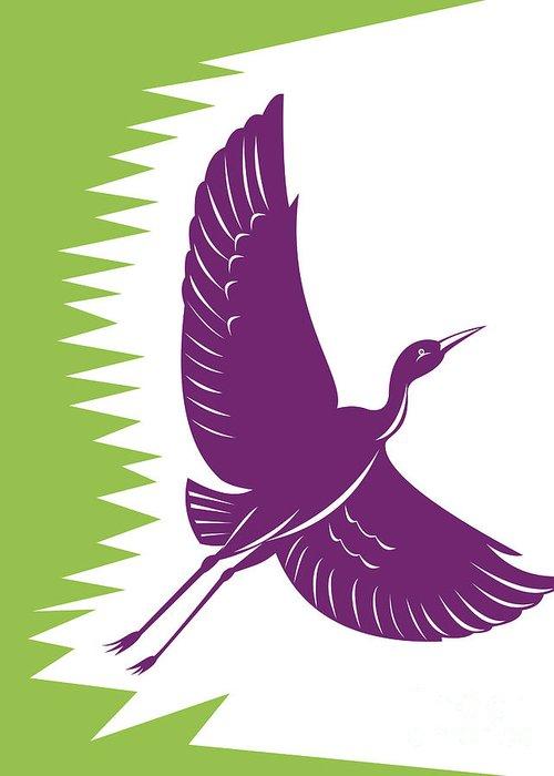 Heron Greeting Card featuring the digital art Heron Crane Flying Retro by Aloysius Patrimonio