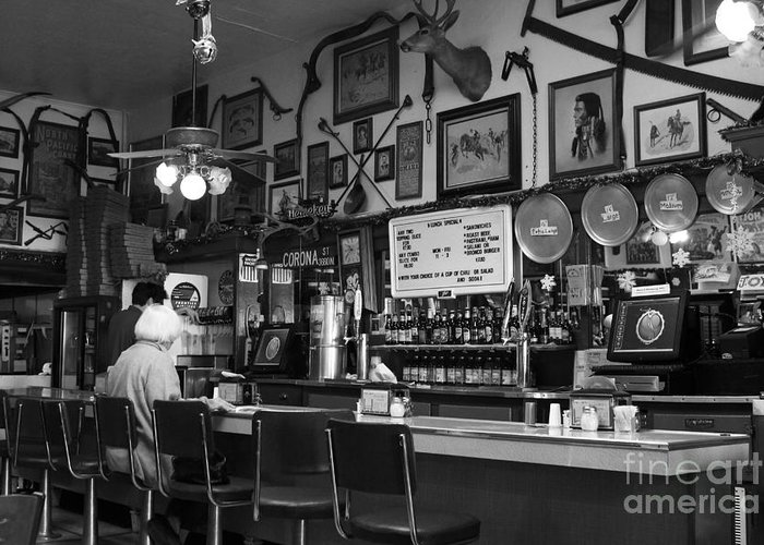 Black And White Greeting Card featuring the photograph Historic Niles District In California Near Fremont . Bronco Billys Pizza Palace . 7d10707 . Bw by Wingsdomain Art and Photography