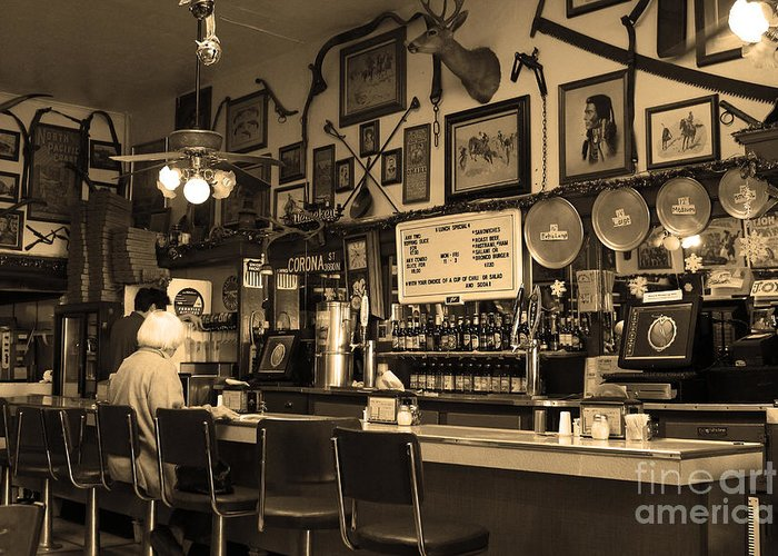 Black And White Greeting Card featuring the photograph Historic Niles District In California Near Fremont . Bronco Billys Pizza Palace . 7d10707 . Sepia by Wingsdomain Art and Photography