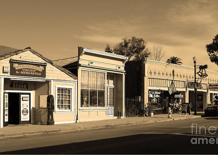 Black And White Greeting Card featuring the photograph Historic Niles District In California Near Fremont . Main Street . Niles Boulevard . 7d10676 . Sepia by Wingsdomain Art and Photography