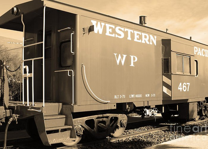 Black And White Greeting Card featuring the photograph Historic Niles District In California Near Fremont . Western Pacific Caboose Train . 7d10627 . Sepia by Wingsdomain Art and Photography