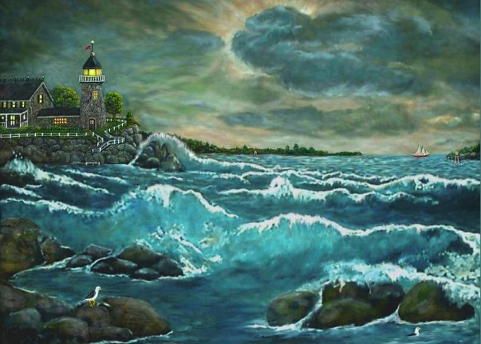 Art Greeting Card featuring the painting Hobson's Lighthouse by Ave Hurley