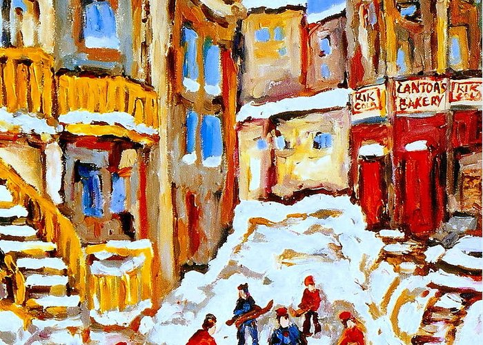 Hockey Art Greeting Card featuring the painting Hockey Art Montreal City Streets Boys Playing Hockey by Carole Spandau