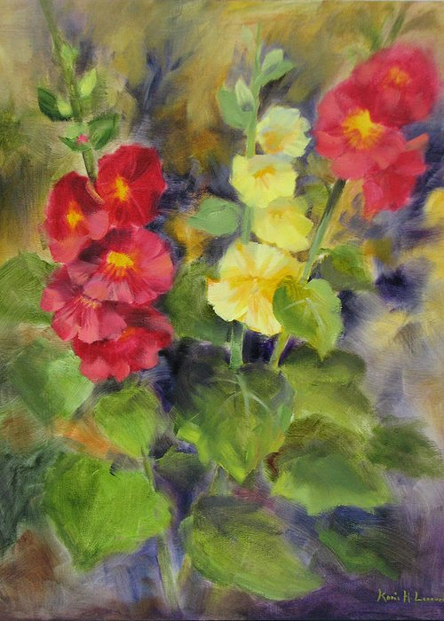Hollyhocks Greeting Card featuring the painting Hollyhocks by Karin Leonard
